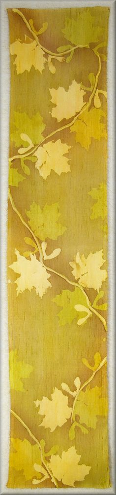 "Hand dyed Men's Silk Scarf in fall colours ""Gold Maple Leaves"" thick natural looking knobby dupioni silk by Laura Elderton - Silk in Art www.etsy.com/shop/lauraelderton"
