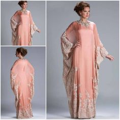Custom Made Hot Sale Floor Length Chiffon Coral Lace Appliqued Arabic Dubai ABAYA Kaftan Evening Dresses with Long Sleeve JQ3309 US $185.99