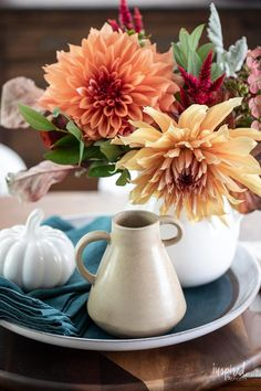 Fall Decorating in My Dining Room #fall #decor #decorating #diningroom #styling Thanksgiving Decorations, Seasonal Decor, Table Decorations, Autumn Inspiration, Home Decor Inspiration, Decor Ideas, Pitchers Of Flowers, Vintage Sideboard, Fall Candles