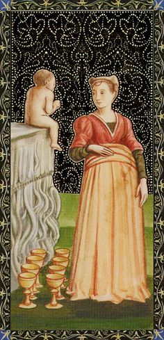 8 de coupes - Golden Tarot of Renaissance par Giordano Berti & Jo Dworkin
