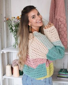 Crochet Bee, Crochet Jumper, Crochet Cardigan, Cute Crochet, Crochet Yarn, Sewing To Sell, Crochet Fashion, Crochet Clothes, Crochet Patterns