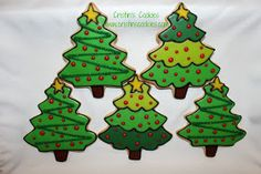 """You know the song, """"Oh Christmas Tree, Oh Christmas Tree"""". well today we have Christmas tree cookies. Lots of Christmas tree cookies. Christmas Tree Cookies, Holiday Cookies, Christmas Baking, Christmas Holidays, Fancy Schmancy, Cookie Decorating, Decorating Ideas, 3 Things, Gingerbread"""
