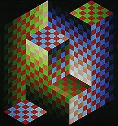 Victor de Vasarely, Gestalt-Zoeld. Acrylic on canvas (1976)