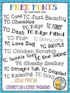 Lots of FREE fonts for personal use by The Techie Chick! (Commercial license av… Lots of FREE fonts for personal use by The Techie Chick! (Commercial license available) Beginning Of School, Back To School, School Stuff, Teacher Resources, School Resources, Teacher Fonts Free, Free School Fonts, Teaching Ideas, Teacher Tips