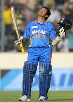Sachin Tendulkar celebrates his 100th international hundred, Bangladesh v India, Asia Cup, Mirpur, March 16, 2012©AFP  — at Mirpur Cricket Stadium.