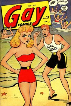 Cover art for Gay Comics issue no. published by Timely Comics, United States, by Basil Wolverton. Vintage Book Covers, Comic Book Covers, Comic Books, Pulp Fiction Comics, Pulp Fiction Book, Art Spiegelman, Planet Comics, Gay Comics, Marvel Comics
