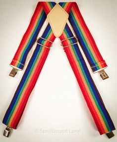 Rainbow Suspenders Adjustable Colorful Mork Halloween Clown Costume