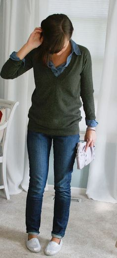 button up tops with vneck sweaters