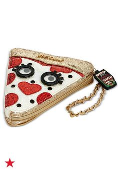 Show off your good taste with a glittery and fun party-perfect wristlet! Shop this Betsey Johnson pizza purse on macys.com now!