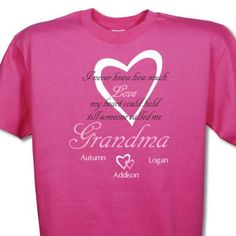 """Grandma loves her grandchildren. These custom """"how much love"""" Personalized Grandma Shirts say it all. Create with any title & up to 30 names! Shop personalized grandma t-shirt today! Nana T Shirts, Baseball Mom Shirts, Cute Shirts, Gigi Shirts, Grandma Names, Grandma Gifts, Blessed Shirt, Personalized Shirts, Personalized Football"""