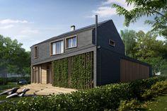 Проект современного дома с двухскатной бескарнизной крышей