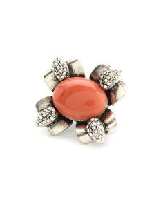 RIGHT HAND RING!!!  CHARLOTTE RUSSE: Coral Stone Flower Ring [Silver] $7.50