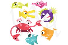 Check out Cute  Monster Fish Clip Art by YenzArtHaut on Creative Market