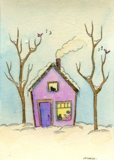 Staying warm in a little home, painting by artist Nicole Wong