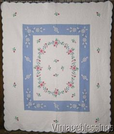 """The MOST Beautiful Applique Roses Rosebuds Blue & White QUILT 87x74"""" Vintage 20s"""