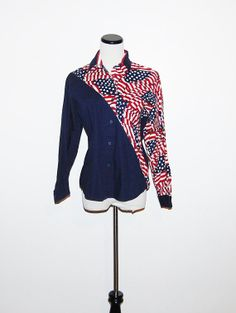 Vintage Love The USA Roper  Blouse by CheekyVintageCloset on Etsy, $14.50
