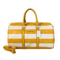 Michael Kors Striped Travel Medium Yellow White Satchels Outlet