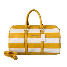 Michael Kors Striped Travel Medium Yellow White Satchels Outlet
