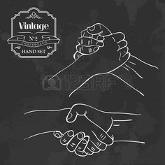 Retro blackboard people shaking hands set. Vector illustration layered for easy manipulation and custom coloring. Stock Photo - 20603089