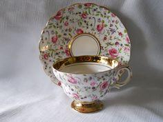 English Rosina Floral Chintz Bone China Teacup and Saucer Set #best_deals4u1 #teamsellit