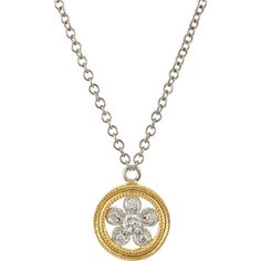 Cathy Waterman Double-Milgrain Flower Pendant Necklace (2,635 CAD) ❤ liked on Polyvore