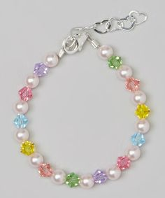 Crystal Dream Stylish Pink Swarovski Simulated Pearls and Multicolor Crystals Sterling Silver Baby Girl Bracelet Gift BMCB_L * Learn more by visiting the image link. Crystal Bracelets, Jewelry Bracelets, Sterling Silver Bracelets, Ankle Bracelets, Jewlery, Silver Ring, Beaded Jewelry Patterns, Bracelet Patterns, Bead Jewellery