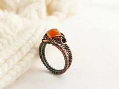 Cornelian Ring  Wire Ring  Cooper Ring  Wire by UrsulaJewelry, $64.00