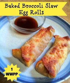 Baked Broccoli Slaw Egg Rolls. This easy recipe is so versatile and are great for lunch or dinner. They are also low in points for those following Weight Watchers.