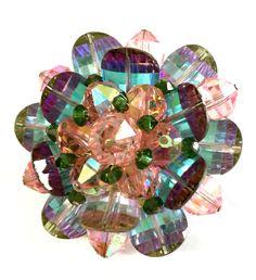 Vendome Carnival Glass Crystal Brooch Faceted by Vintageimagine
