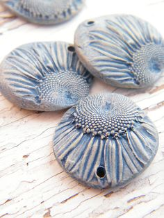 Tiny Daisy Charms in denim blue  set of 5 by TreeWingsStudio, $12.00