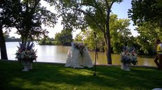 lake wedding - altar - ceremony - French Tulip flowers in Oklahoma City