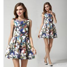 Women Vintage Floral Print Ruffles Dresses Slim Party Dresses Sleeveless Design European Fashion Casual Dress High Quality Online with $22.16/Piece on Smartmart's Store | DHgate.com