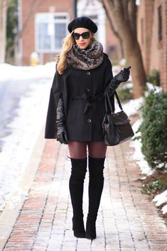 Cozy Details: black wool cape, gray faux fur scarf, elbow length leather gloves, 7 For All Mankind burgundy leather jeans, black suede Stuart Weitzman 'Highland' thigh high boots, cashmere beret, winter cape outfit, layered look for winter