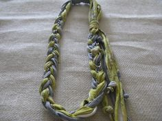 Braded recycled new fabric necklace with silver chain by mafie999, $15.00
