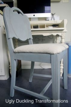 Wedgewood Blue Upholstered Chair by Ugly Duckling Transformations