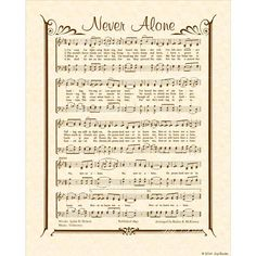 abc435eb0f7a NEVER ALONE 8x10 Antique Hymn Vintage Verses Sheet Music Natural Parchment  Sepia Brown Promise Lonely Jesus Christ Savior Bible Peace Friend