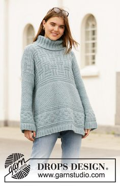 Inner City / DROPS - Free knitting patterns by DROPS Design - Knitting patterns, knitting designs, knitting for beginners. Long Jumpers, Jumpers For Women, Jackets For Women, Sweaters For Women, Drops Design, Drops Kid Silk, Free Knitting Patterns For Women, Oversize Pullover, Magazine Drops