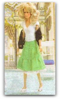 Knit skirt - Knit white top - crochet black shawl