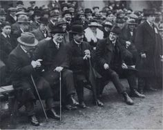 Arthur Griffith, Eamon De Valera, Dublin Lord Mayor Laurence O'Neill and Michael Collins seated (plus Harry Boland standing) at a G. match in Croke Park, Dublin. Ireland 1916, Dublin Ireland, Croke Park, Images Of Ireland, Irish People, Erin Go Bragh, Michael Collins, Famous Photos, Irish Eyes