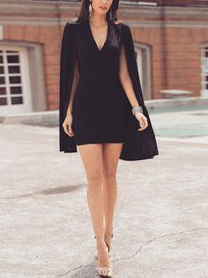 Solid Deep V Cape Design Mini Dress - Sac et accessoires Classy Dress, Classy Outfits, Stylish Outfits, Little Black Dress Classy, Elegant Dresses, Cute Dresses, Short Dresses, Trend Fashion, Look Fashion
