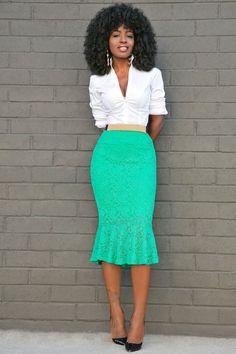 Button Down Shirt + Lace Frill Midi Skirt