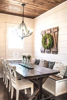 Country Dining Rooms, Dining Room Wall Decor, Farmhouse Wall Decor, Decor Room, Farmhouse Design, Modern Farmhouse, Farmhouse Ideas, Farmhouse Homes, Farmhouse Style Decorating