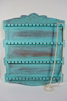 Wall Jewelry holder / jewelry organizer / wood / souvenir spoon holder / antique spoon holder / distressed turquoise
