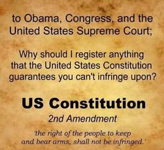 "The only thing that I'm ""registering"" is the amount of crap coming from Congress and the White House.  Molon Labe."