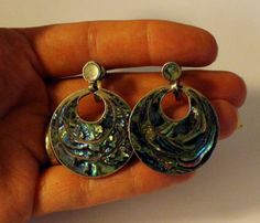 Antique Sterling Silver and Abalone Dangle or Drop by onetime, $15.25