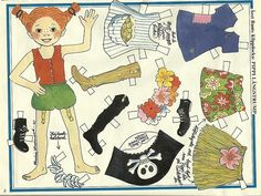 Pippi Longstocking and Horse Vintage Paper Doll from Sweden Vintage Paper Crafts, Vintage Paper Dolls, Frozen Dolls, Pippi Longstocking, Paper Toys, Doll Toys, Doll Clothes, Crafts For Kids, Retro