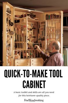 a click away from sharp items in Very Cool Wood Projects Art Woodworking Tool Cabinet, Woodworking Power Tools, Antique Woodworking Tools, Youtube Woodworking, Woodworking Projects Diy, Woodworking Shop, Woodworking Workbench, Woodworking Tool Storage Ideas, Woodworking Joints