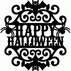 Silhouette Design Store: vintage ornate swirl happy halloween label