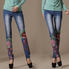 Chinese Style Pants/ Jeans with Chinese Patterns/ Embroideries - Modern Chinese Style Clothing: Skinny Peony $59.99 (45,20 €)