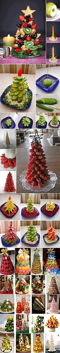 Fruit Christmas trees .. Edible center pieces